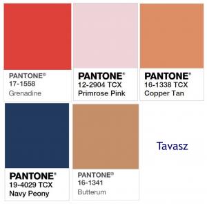 7001c89180 Az alapszín itt is a tengerészkék, a szürke, és a halvány rózsaszín (Ballet  Slipper), amelyekhez a kék finom árnyalatai, mint a Marina és a ...